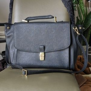 Danier Saffiano Black Leather Crossbody Bag